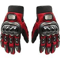 Tcbunny Pro-biker Motorbike Carbon Fiber Powersports Racing Gloves (Red, Large)