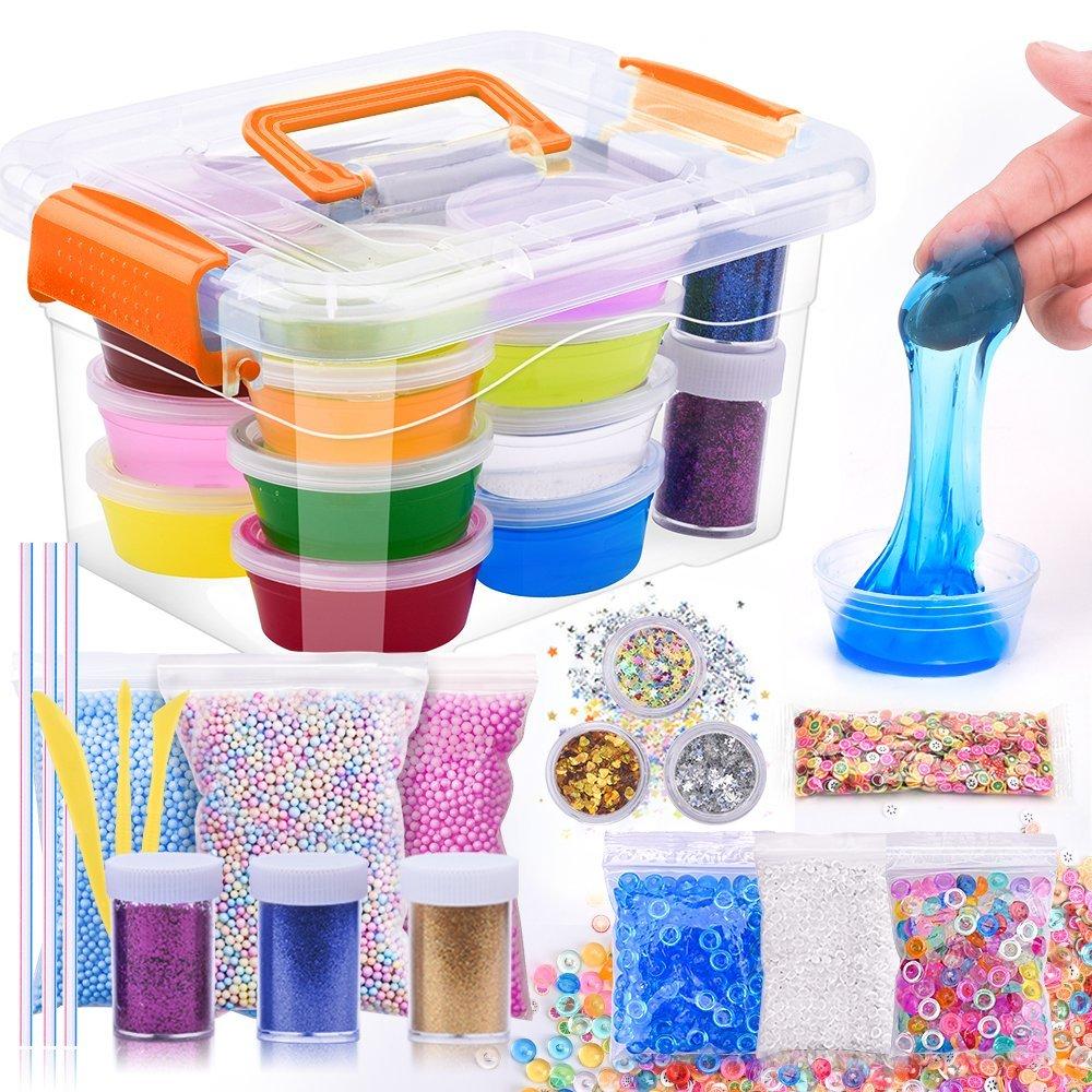 M MOOHAM DIY Slime Kit - 30 Pack Ultimate Crystal Slime Making Kit Includes Crystal Slime, Glitter Slime Containers, Foam Balls, Fruit Slices, Fishbowl Beads for Kids (slime kit) by M MOOHAM