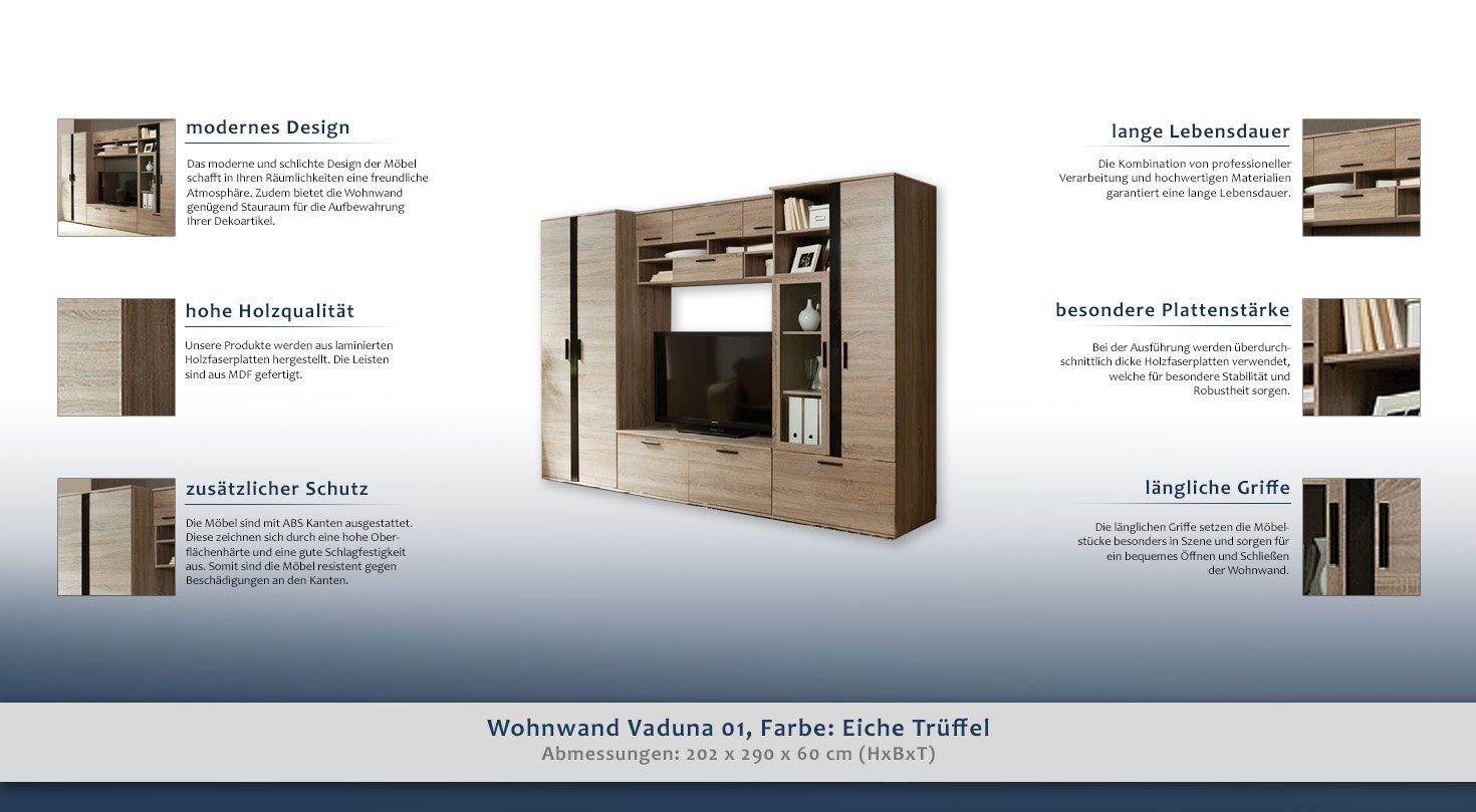 Wohnwand Vaduna 01, Farbe: Eiche Trüffel - 202 x 290 x 60 cm (H x B ...