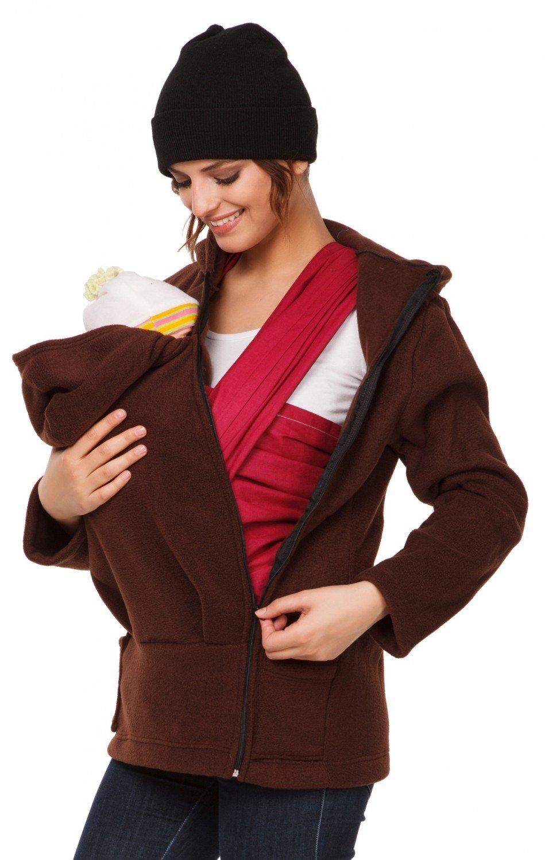 Happy Mama. Women's Maternity Fleece Hoodie Duo Top Carrier Baby Holder. 031p carrierhood_031