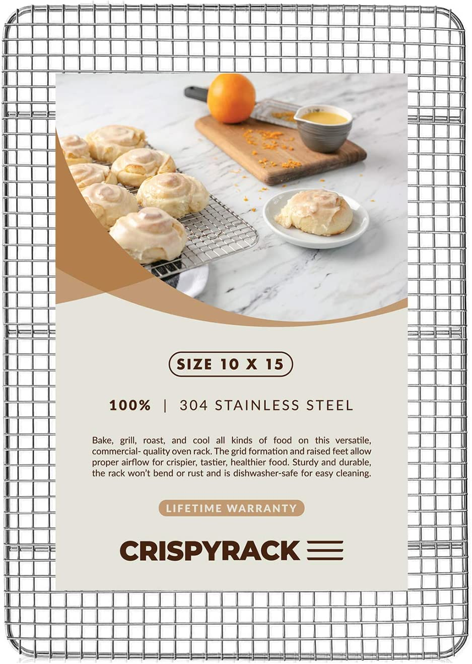 "CrispyRack Heavy Duty 100% 304 Stainless Steel Wire Rack For Cooking, Roasting, Drying, and Grilling. Rack Fits Jelly Roll Sheet Size Baking Pan, Oven Safe, Commercial Quality, 10"" X 15"""