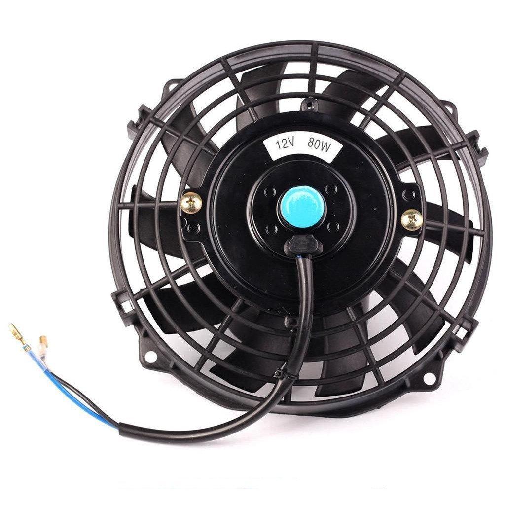 7'' inch Universal Slim Fan Push Pull Electric Radiator Cooling 12V Mount Kit Black