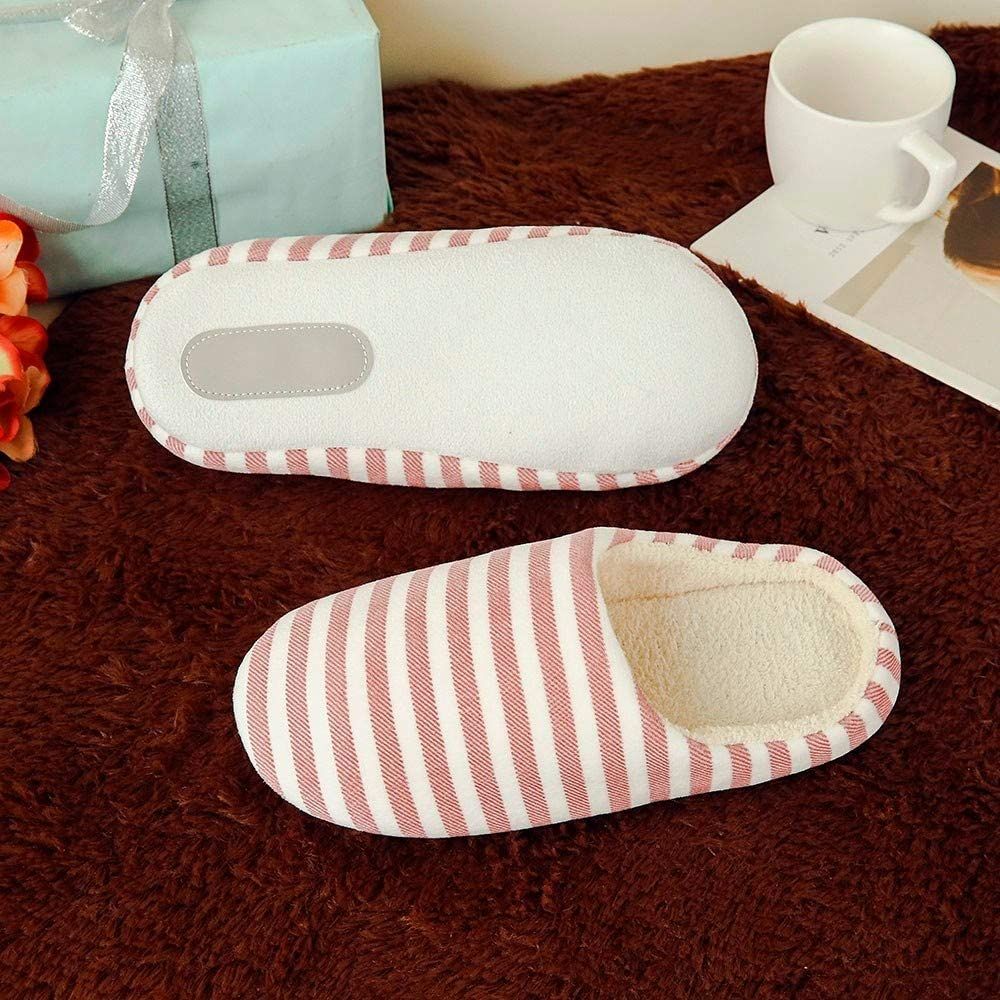 IMJONO Automne Hiver Femmes Hommes Pantoufles Coton Peluche Chaussons Doublure Int/érieure Douce Chaud Ray/é/lint/érieur Anti-Glisse Chaussures de Maison