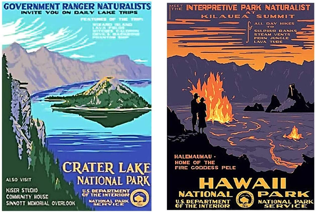 Jan. 1, 2019 - Dec 31, 2019 Ars Antigua 2020 Vintage National Parks Posters /• CD-Style Desk Calendar