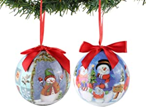 Roxie Handcrafted Christmas Snowman Ball Ornament, Shatterproof Beautiful Hanging Pendants for Xmas Tree, Garden, Patio, Indoor and Outdoor Decorations 2 Pack
