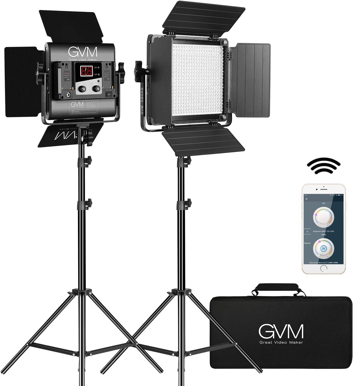 GVM LED Video Light, Dimmable Bi-Color, Photography Lighting with APP Control, Video Lighting Kit for YouTube Outdoor Studio, 2 Packs Led Panel Light, 2300K-6800K, CRI 97+