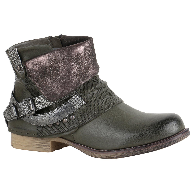 Stiefelparadies Damen Stiefeletten Biker Boots mit Blockabsatz Schnallen Nieten Flandell Dunkelgrün Camiri