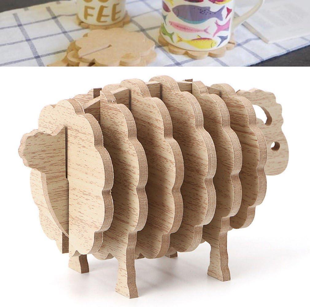 Hedgehog Shape Cup Coaster Set DIY Place Mat Handmade Wood Animal Coffee Cup Pad