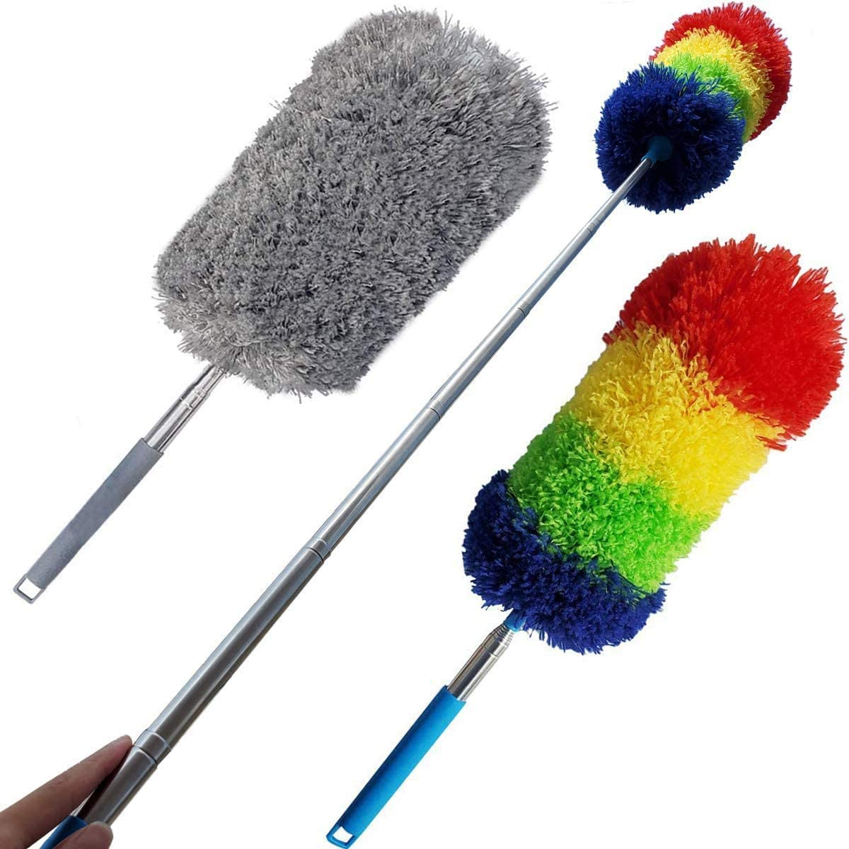 Tonmp 2 PCS Gray + Colorful Telescoping Microfiber Duster Extendable 18in to 48in - Flexible and Extendable Duster for Cleaning Ceiling Fan/Furniture/Keyboard/Cobweb