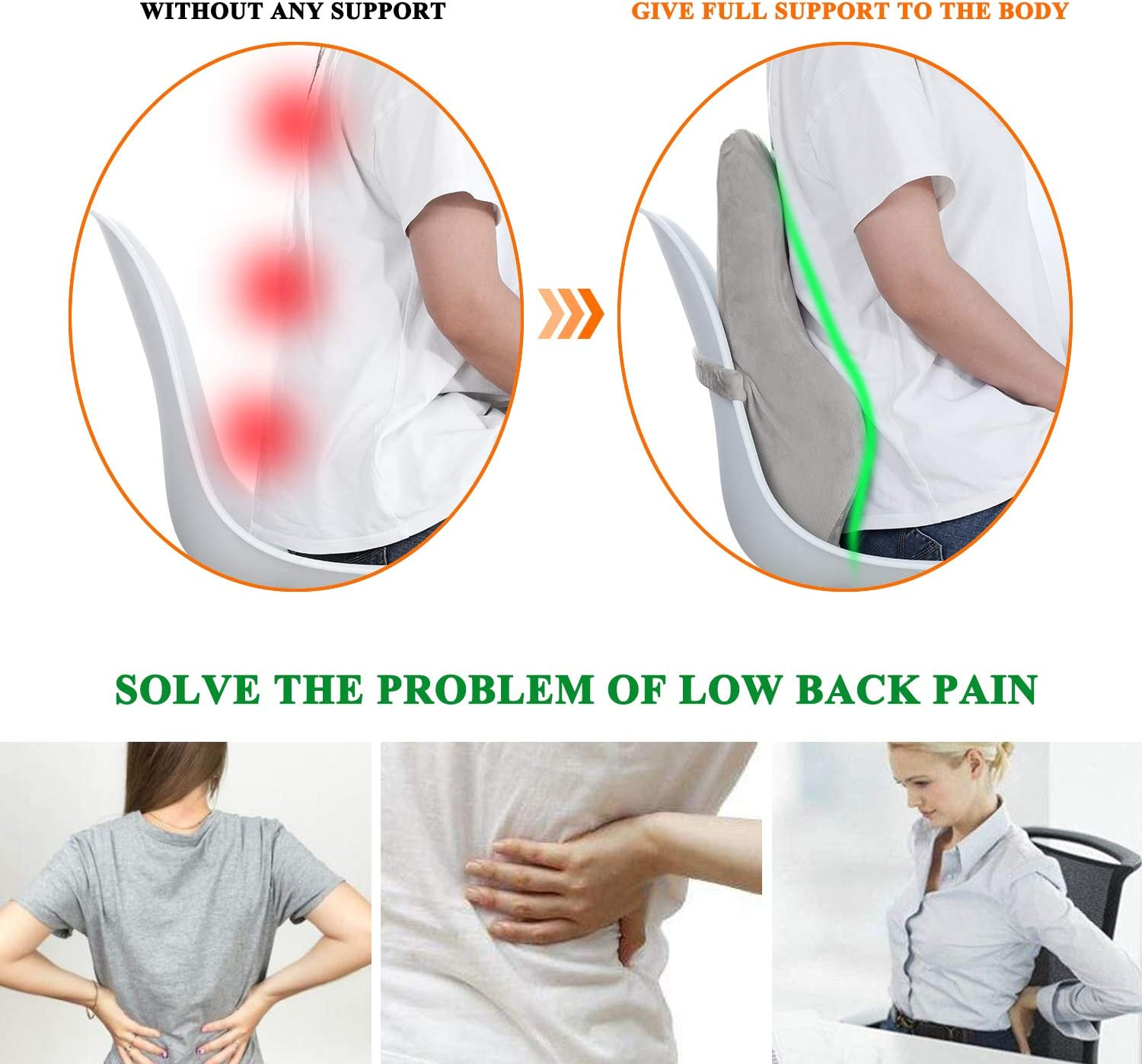 Back Cushion, Ergonomic Design Style, Memory Foam Lumbar Support Cushion for Back Pain Relief Housefar