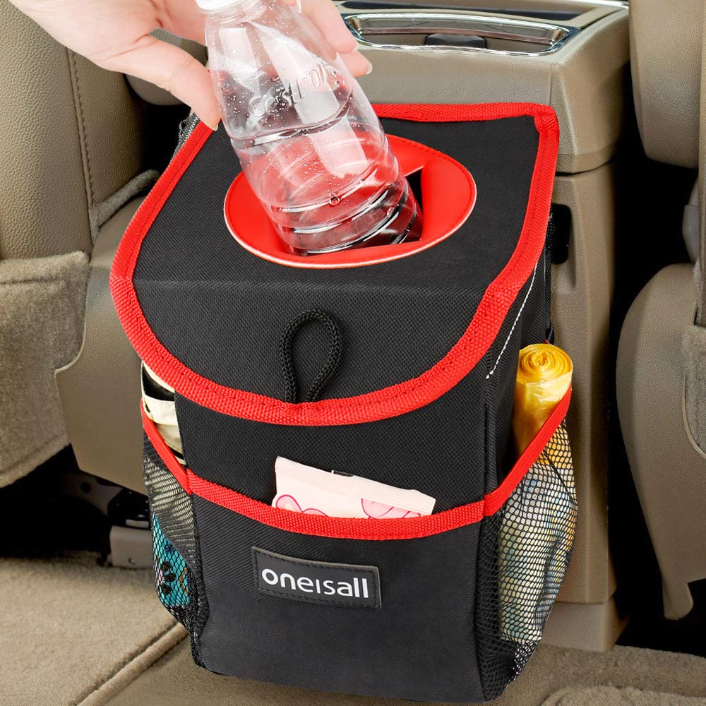 oneisall Car Trash Can with Lid,Waterproof & Leak-proof Car Garbage Can Holder,Portable In Car Trash Bag Hanging with Storage Pockets(Black&Red)