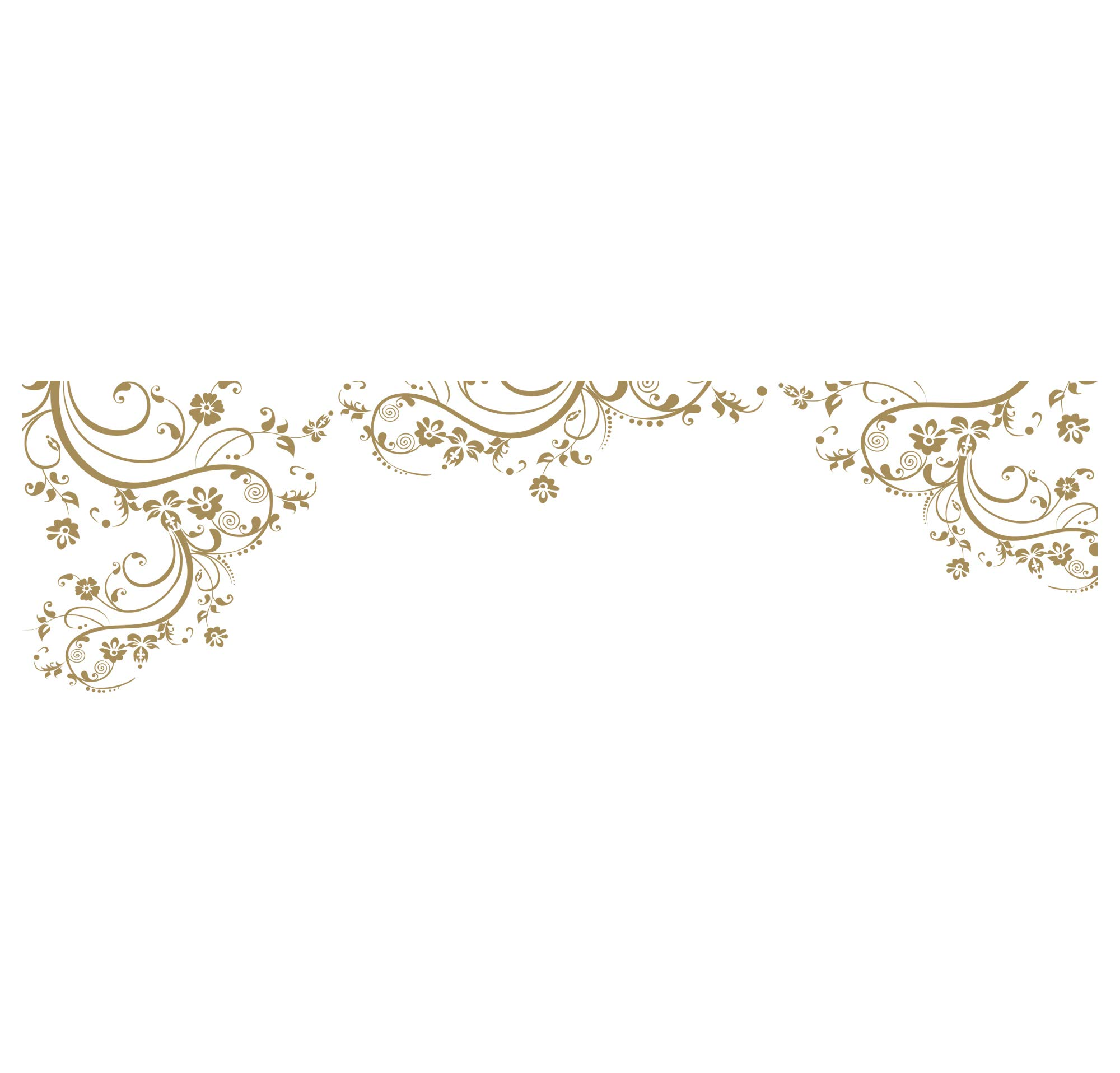 Gold Swirl Flower Floral Wall Decal Design. Edge to Edge Wall Decal. (100'' X 29'') #262A