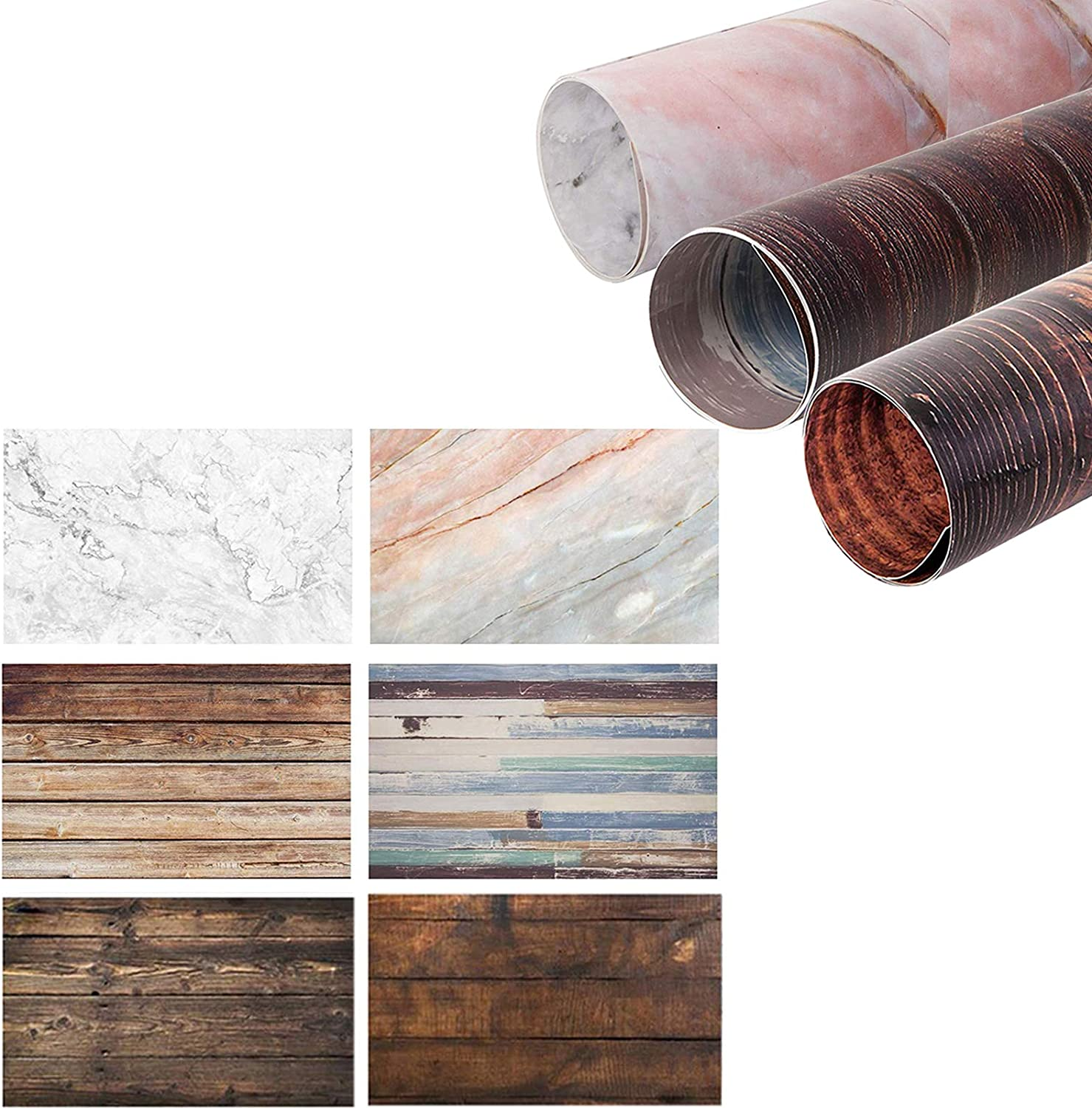 Selens 2-in-1 Marble Backdrop Wood Backdrop, 22x35Inch Flat Lay Food Photography Background Waterproof Tabletop Paper Props for Jewelry Cosmetics Makeup Small Product Photography—3 Pack
