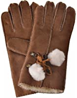 YISEVEN Women's Merino Rugged Shearling Leather Bailey Gloves Furry Balls