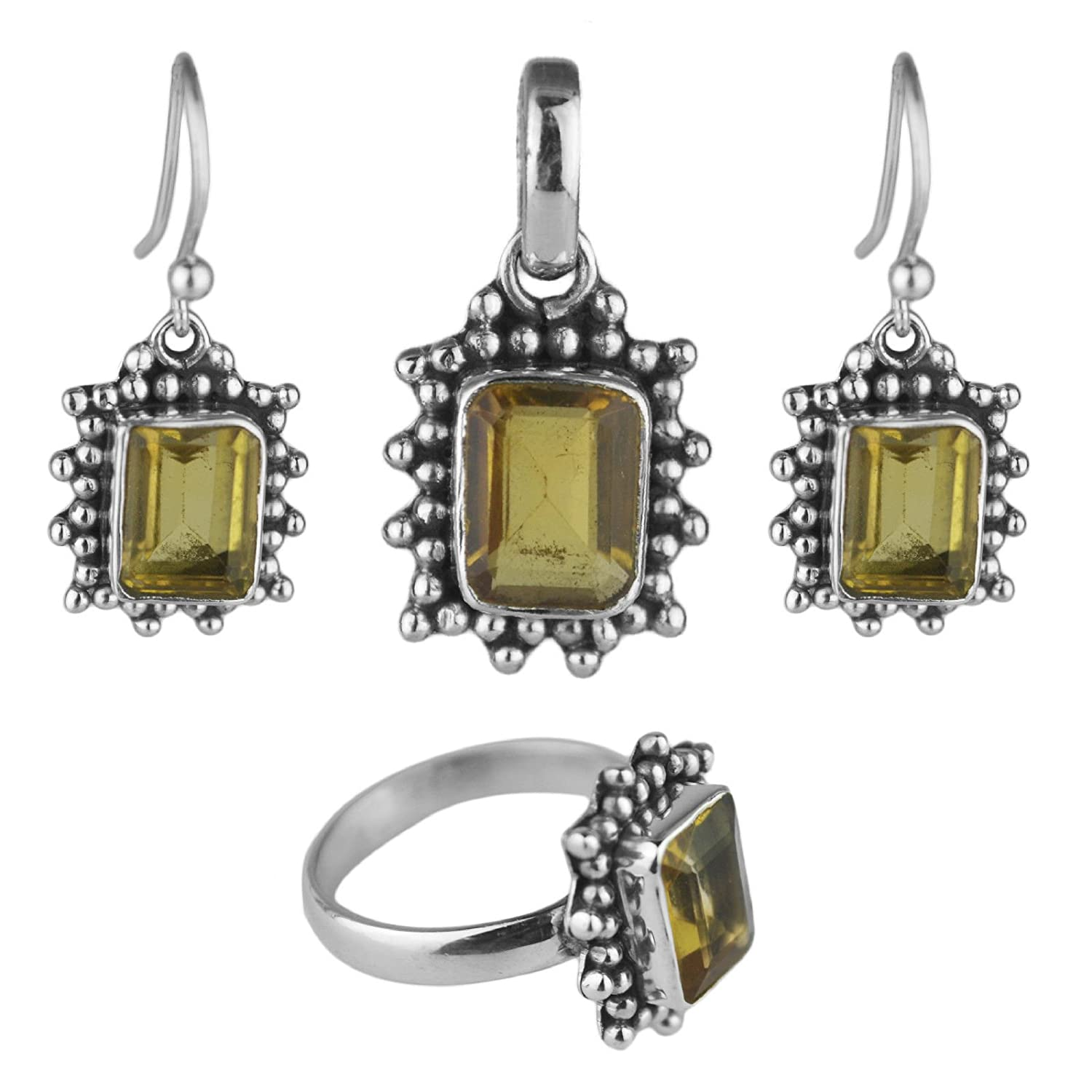 Crystalcraftindia Natural citrine gemstone jewelry set pendant ring earring sterling silver 11.16 gms c