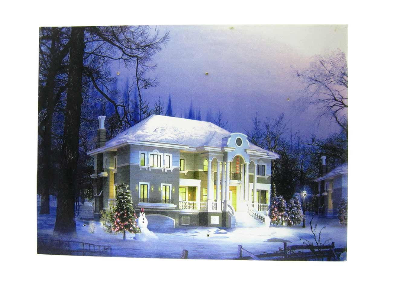 Sunnyhill Wall Decoration Door Cover LED Christmas Light Mural-Wooden Back