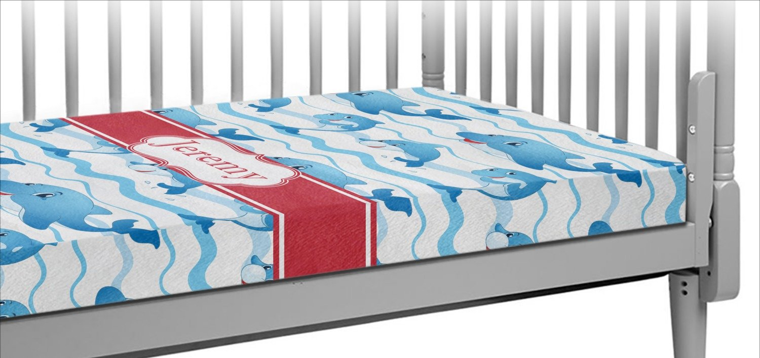Dolphins Crib Fitted Sheet (Personalized)