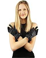 Elegant Satin Floral Stretchy Wrist Length Dressy Evening Cocktail Gloves Black