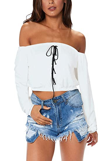 Amazon.com  ANDUUNI Womens Sexy Off Shoulder Top Blouses Lace up ...