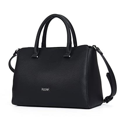 eef8f4286b5a Kadell Womens Soft Leather Handbags Large Capacity Retro Vintage Top-Handle  Casual Tote Shoulder Bags Purse Black  Amazon.co.uk  Luggage