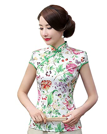 a74bfff4c Shanghai Story Women's Faux Silk Tang Suit Chinese Shirt Blouse Top ...