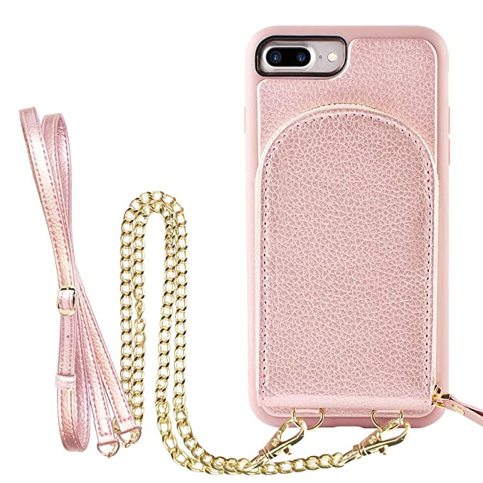 new product 33e11 a1234 iPhone 8 Plus Wallet Case, ZVEdeng iPhone 7 Plus Credit Card Holder with  Crossbody Chain Strap Wrist Strap Protective Leather Zipper Money Pocket  Case ...