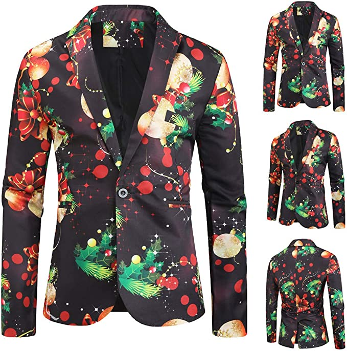 Mens Sequin Jacket Sport Coats and Blazers Christmas Blazer Party Costume