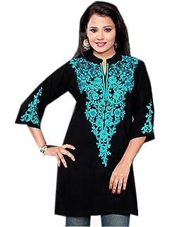 79997f0c41c37f Jayayamala Fleur Tunique Noire Top brodé Femme Paysanne Robe Noire Tunique  Blouse Habillement Chemisier brodé