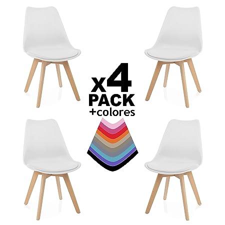 duehome Bench Pack de 4 sillas, Madera de Haya, 49 x 53.5 x 83 cm ...
