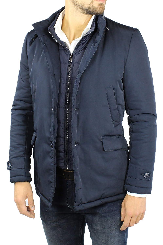 Giubbotto Uomo Invernale Elegante Nero Blu Giaccone con Gilet Interno Removibile Piumino Giacca Imbottita Casual
