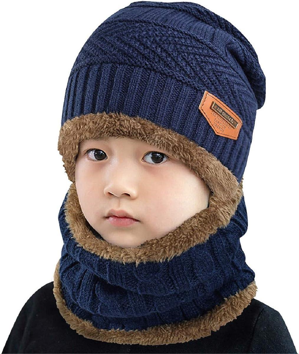 Tuopuda Conjunto de bufanda y gorro de punto para ni/ños Forro polar de lana Beanie Hat Sombrero Cuello caliente Conjunto de Gorro y Bufanda deInvierno