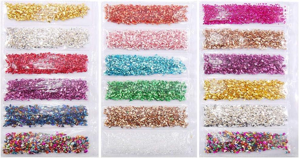 Youliy 1 juego de piedras de cristal rotas de resina epoxi UV relleno DIY Nail Art Decoraciones