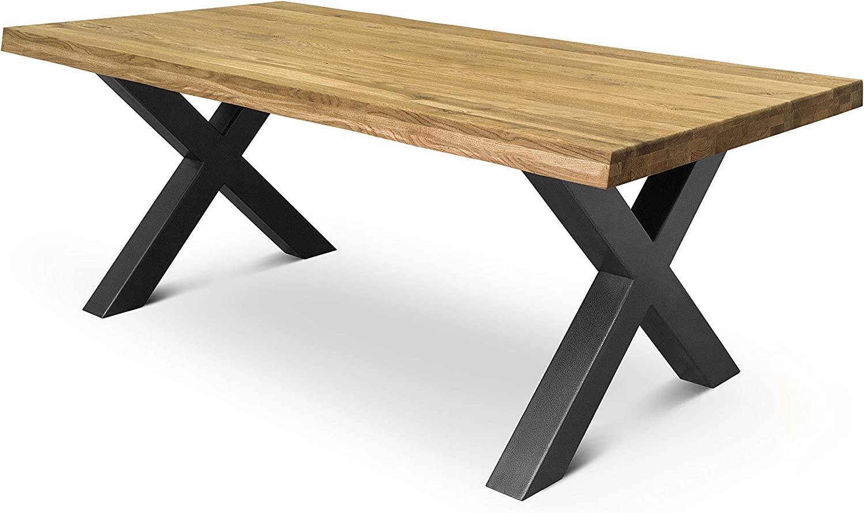 COMIFORT Mesa de Comedor - Mueble para Salon Oficina Despacho Robusto y Moderno de Roble Macizo Color Ahumado con Lado Ondulado, Patas de Acero X-Forma Grafito (160x90 cm)