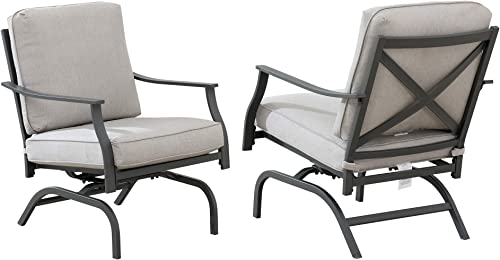 Amazon Brand – Ravenna Home Archer Steel-Framed Outdoor Patio Deep-Seat Chairs, Set of 2, 31 W, Gray