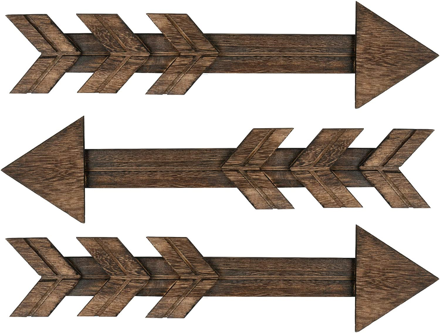 Kingbuy Rustic Wood Arrow Sign Wall Decor for Gallery Farmhouse Home Bedroom or Wedding Wall Mount, Set of 3