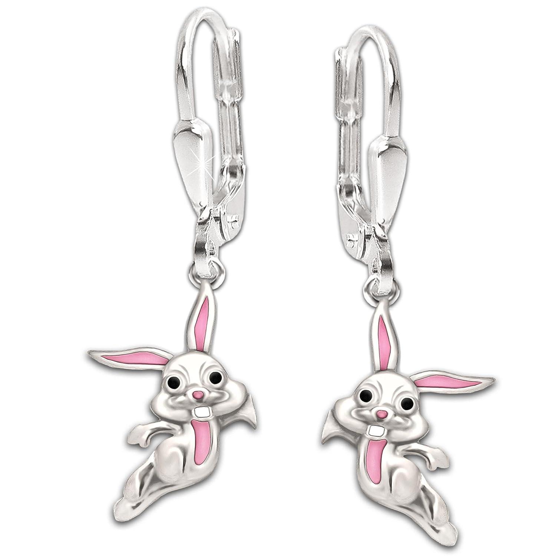 bd733070e7c5 Clever joyas plateado pendientes de 28 mm con conejo con 12 mm Auriculares  color rosa