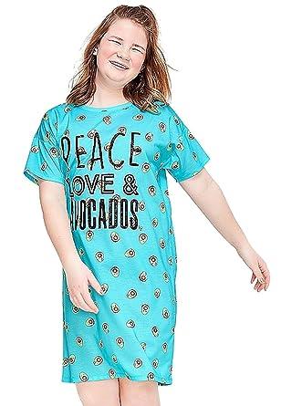 d09fd3ea3 Justice Girls Nightgown, or Pajama Set Top & Pants Bundle (Peace Love &  Avocados