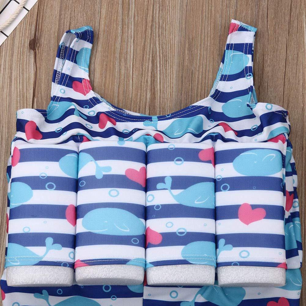 Toddler Baby Buoyancy Swimsuit Boy Girl Sleeveless Striped Dolphin Print Swim Wear Bathing Suit