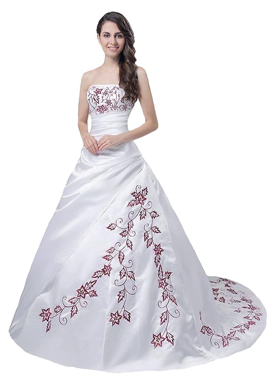 Faironly Trägerlos Weiß Rot Hochzeitskleid Brautkleid M56: Amazon.de ...