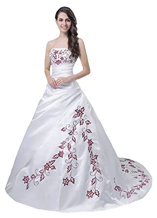 Faironly M56 Red Embroidery White Wedding Dress at Amazon Women s ... b9535d16cb