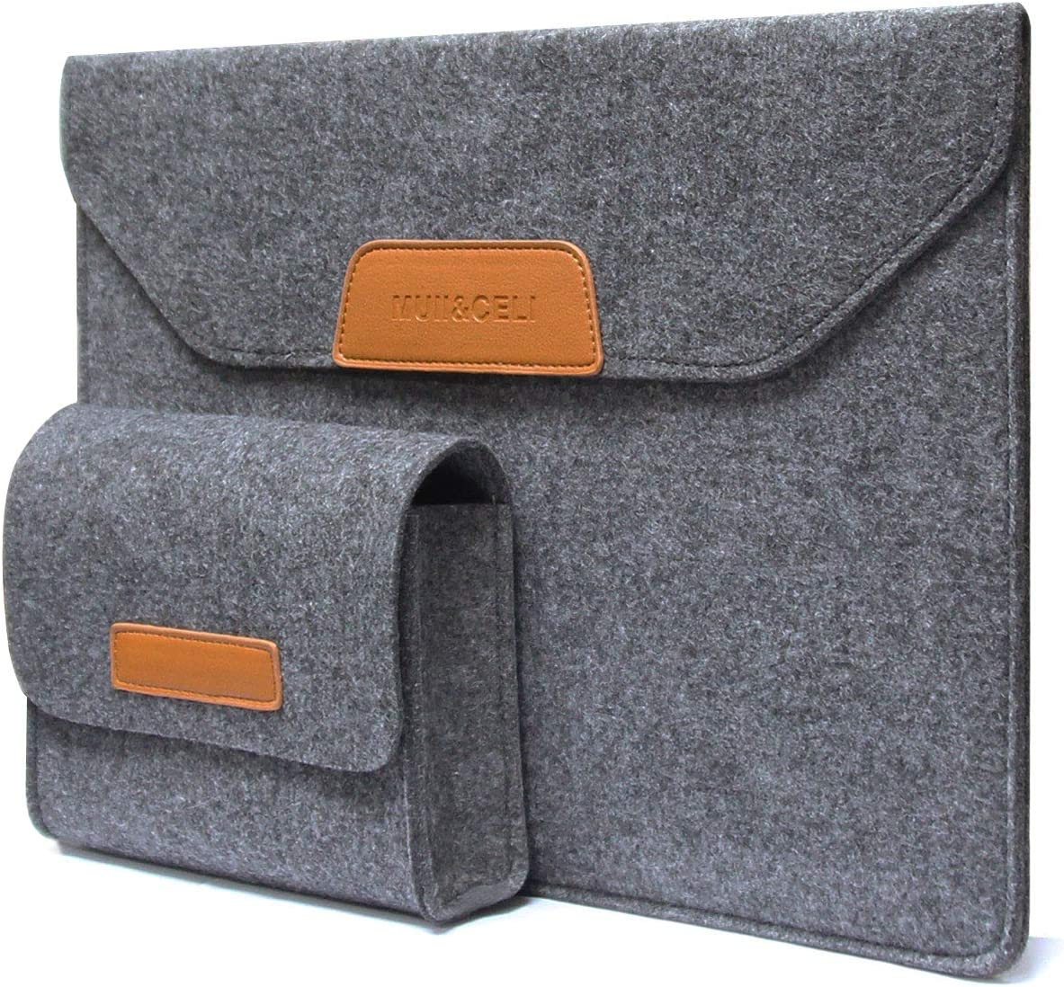 Laptop Sleeve, MUII&CELI Slim Laptop Sleeve Compatible 13 inch New MacBook Air (A1932)  13 inch New MacBook Pro (A1989/A1706/A1708)  12.9''Pad Pro  Surface 6/5/4/3 Accessory Pouch for Devices- Grey