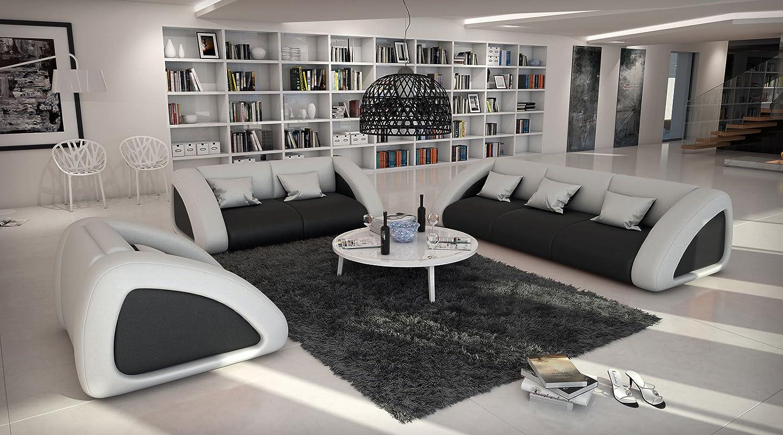 SAMR Sofa Garnitur Ciao Combi 3 2 1 Schwarz Weiss Designed By Ricardo Paolo Wohnlandschaft Futuristisch Wohnzimmer Landschaft Mit Dreisitzer