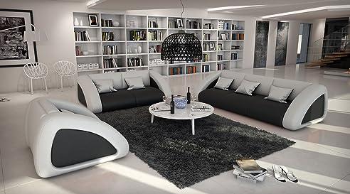 SAM® Sofa Garnitur Ciao Combi 3-2-1 schwarz /weiß / weiß designed ...