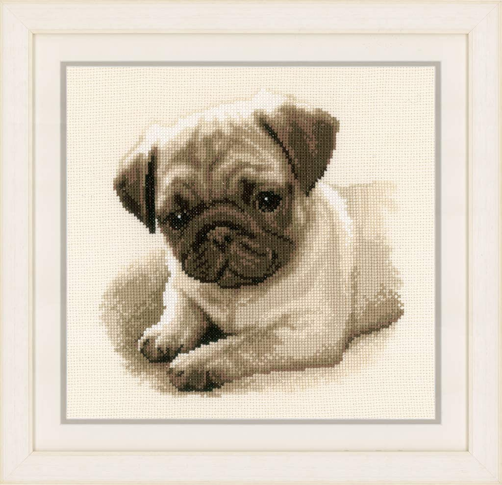 complete counted cross stitch kit with all materials PUG dog