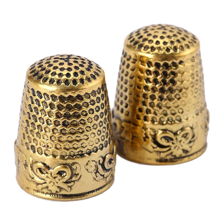 SODIAL 2Pcs Gold Finger Thimble Sewing Grip Fingertip Protector Metal Shield Pin Needles Partner DIY Crafts Tools Needlework