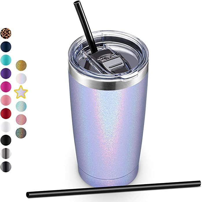 20oz Stainless Steel Tumbler with Lid and Straw, Vacuum Insulated Tumbler Cup, Double Wall Coffee Tumbler by Aloufea, Powder Coated Travel Coffee Mug, Gift for Home Office (Glitter Lavender, 1 Pack)