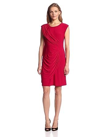 Tiana B Women's Solid Asymmetrical Dress, Red, 4