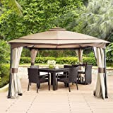 CHARMELEON Patio Gazebo Canopy 13 x 11, Double Tiered Outdoor Canopy Tent with Removable Sidewall and Mosquito Net for Patio