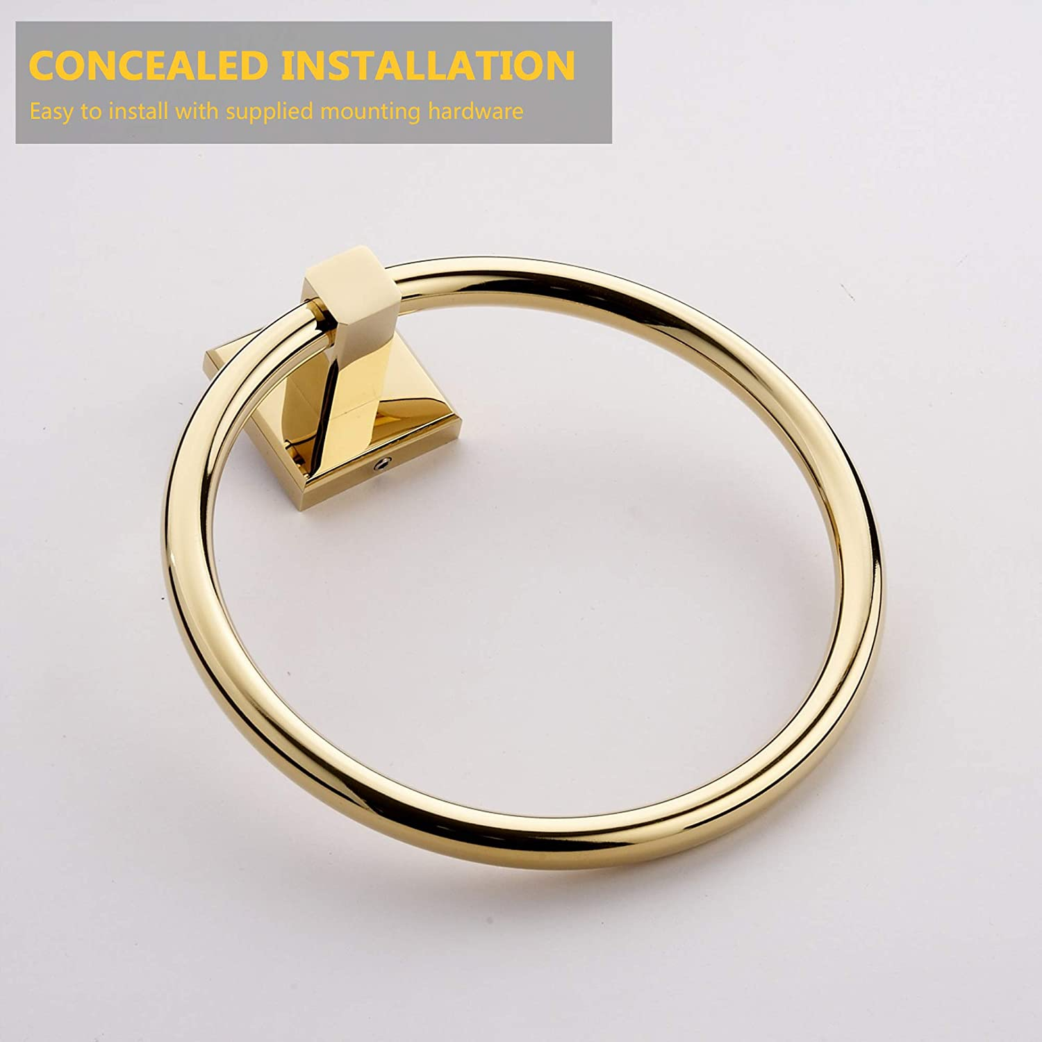 Brass Towel Ring Wall Mounted Gold Round Towel Rings Rack Holder