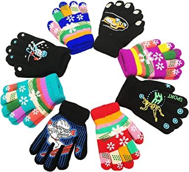 Amazon.com: Kids Gloves, Magic Stretch Gloves 8 Pairs, Children Anti-Slip  Full Fingers Knitted Winter Glove for Boys and Girls: Clothing